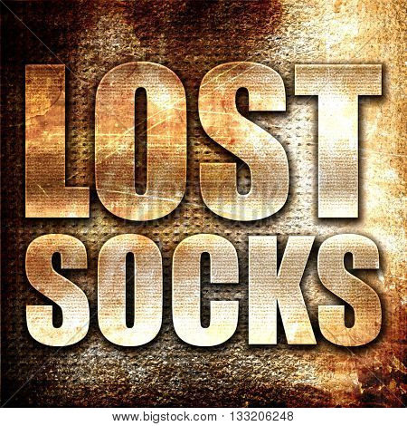 lost socks, 3D rendering, metal text on rust background
