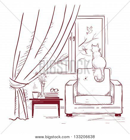Cat Watching Birds Near The Window.interior Room With Modern Armchair