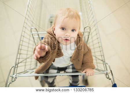 Beautiful and adorable baby in shopping cart - trolley looking into the camera and requests to buy. Little child with blue eyes shopping and pulls hands