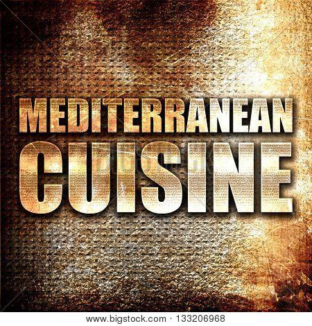 mediterranean cuisine, 3D rendering, metal text on rust backgrou