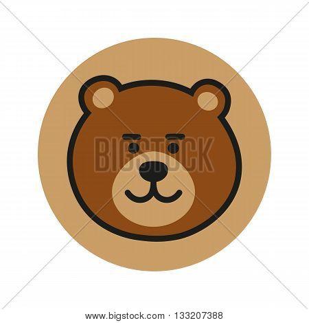 Bear vector icon. Bear logo. Cute Bear Icon. Bear design Icon. Bear flat icon. Bear in circle. Bear art. Bear head. Brown Bear Icon