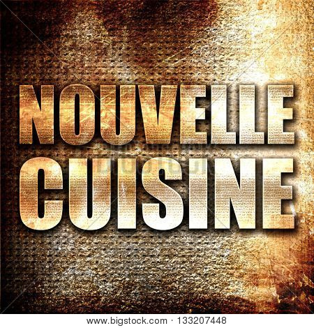 nouvelle cuisine, 3D rendering, metal text on rust background