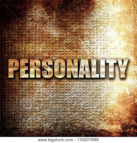 personality, 3D rendering, metal text on rust background