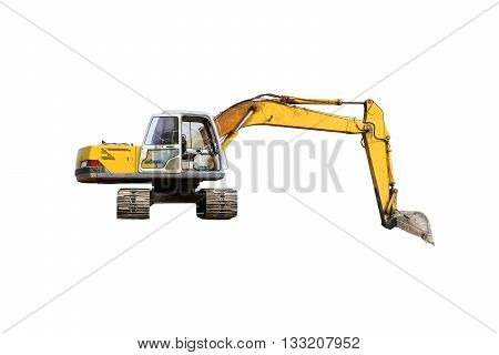 Clopseup of the excavator isolated on white background.
