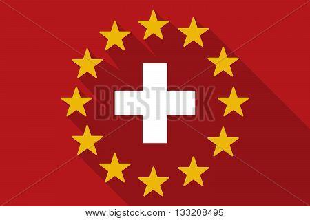 Long Shadow Eu Flag With   The Swiss Flag