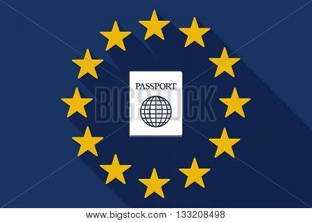 Long Shadow Eu Flag With  A Passport