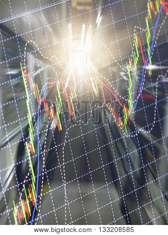 Finance business background. Abstract stock market diagram candle bars trade.