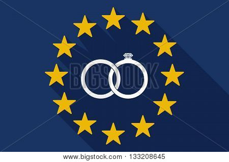 Long Shadow Eu Flag With  Two Bonded Wedding Rings