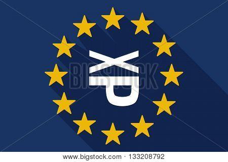Long Shadow Eu Flag With  A Tongue Sticking Text Face Emoticon