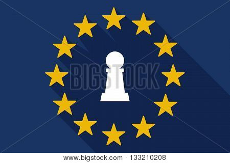 Long Shadow Eu Flag With A  Pawn Chess Figure