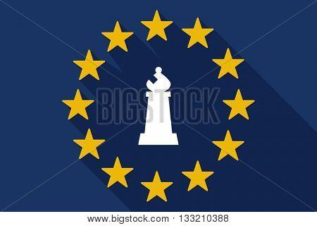 Long Shadow Eu Flag With A Bishop    Chess Figure