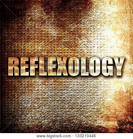 reflexology, 3D rendering, metal text on rust background