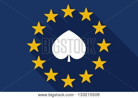 Long Shadow Eu Flag With  The  Spade  Poker Playing Card Sign