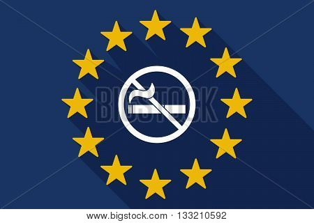 Long Shadow Eu Flag With  A No Smoking Sign