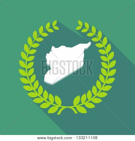 Long Shadow Laurel Wreath Icon With  The Map Of Syria