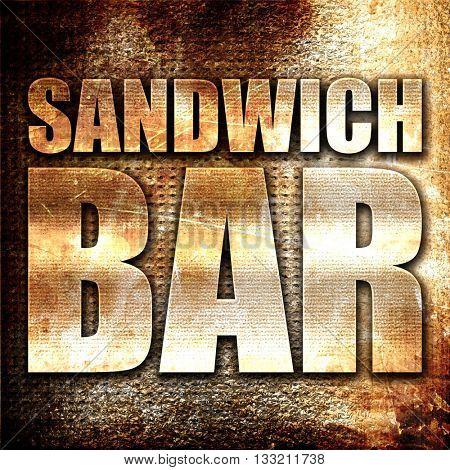 sandwich bar, 3D rendering, metal text on rust background