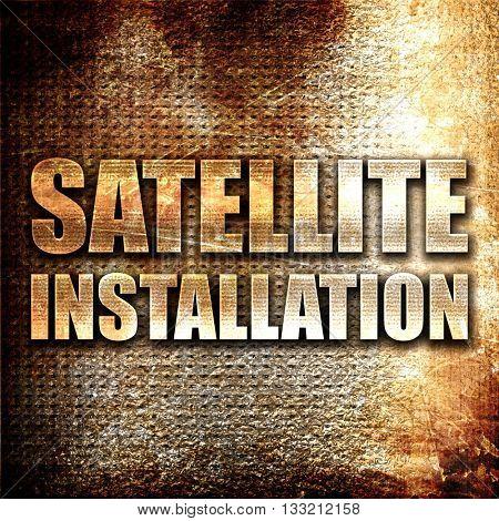 satellite installation, 3D rendering, metal text on rust backgro