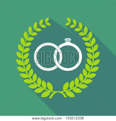 Long Shadow Laurel Wreath Icon With  Two Bonded Wedding Rings