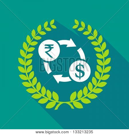 Long Shadow Laurel Wreath Icon With  A Rupee And Dollar Exchange Sign
