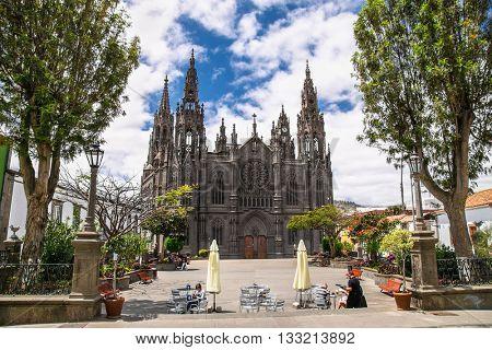 Church of San Juan Bautista - impressive Gothic Cathedral in Arucas, Gran Canaria, Spain.