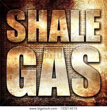 shale gas, 3D rendering, metal text on rust background