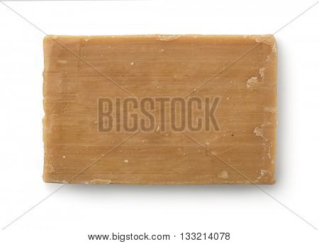 Top view of old soap bar isolated on white