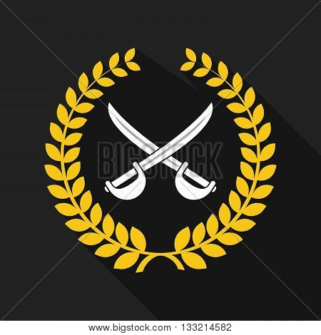 Long Shadow Laurel Wreath Icon With  Two Swords Crossed