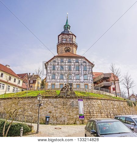 Backnang, Germany - April 2 2016: Art gallery of the city of Backnang (Galerie der Stadt Backnang). It hosts different exhibitions each year with oeuvres from regional and national artists.