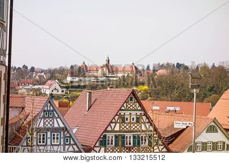 Backnang Germany - April 03 2016: View over the half-timbered buildings of Backnang near town center.