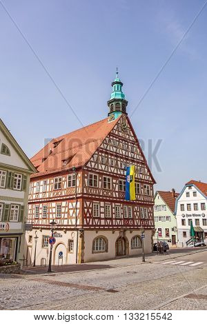 Backnang Germany - April 3 2016: City center with townhall and half-timbered houses