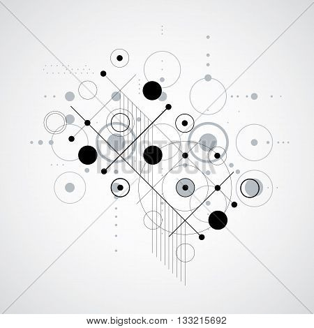Vector Bauhaus monochrome abstract background made with grid and overlapping simple geometric elements circles and lines. Retro style artwork graphic template for advertising poster.