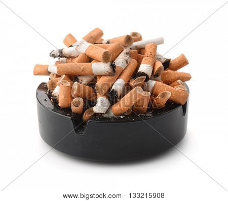 Ashtray full of cigarette butts  isolated on white