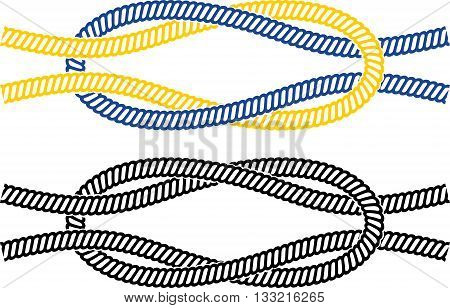 Simple marine node image of the two ropes color and black white