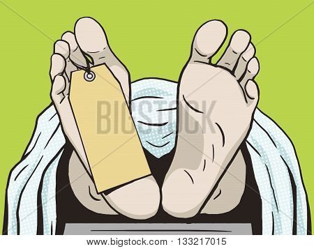 Body in the morgue with a tag. Human foots. Cartoon pop art vector illustration. Comic book vintage retro style.