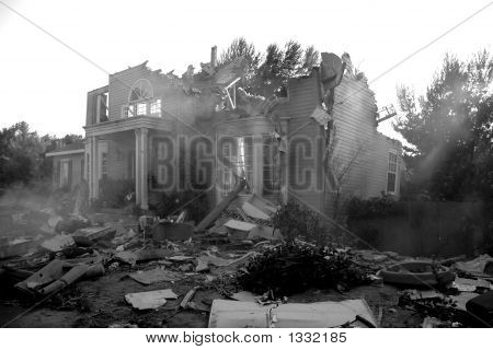 Broken House In Disaster Scene