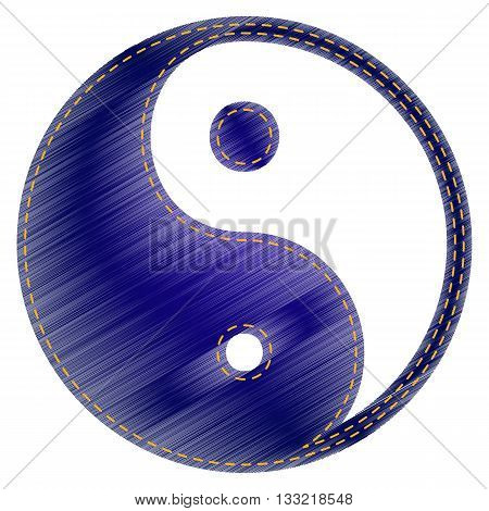 Ying yang symbol of harmony and balance. Jeans style icon on white background.