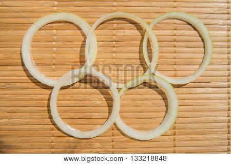 Olympic rings of sliced onions Rio de Janeiro Brazil 2016.