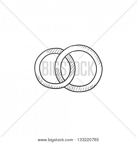Wedding rings vector sketch icon isolated on background. Hand drawn Wedding rings icon. Wedding rings sketch icon for infographic, website or app