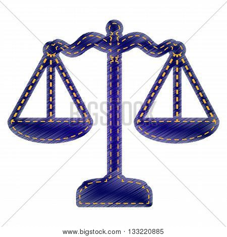 Scales balance sign. Jeans style icon on white background.