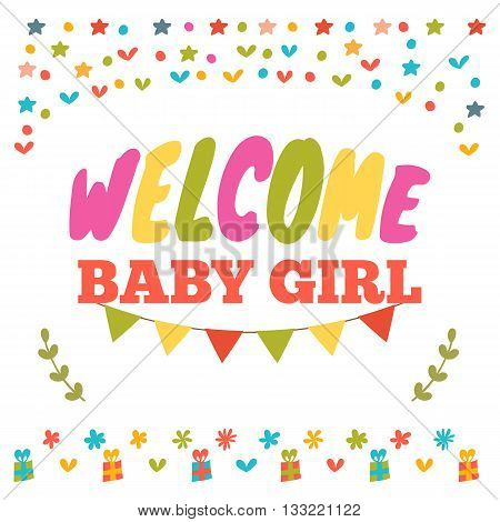 Baby Girl Shower Card. Welcome Baby Girl. Baby Girl Arrival Postcard. Baby Shower Greeting Card