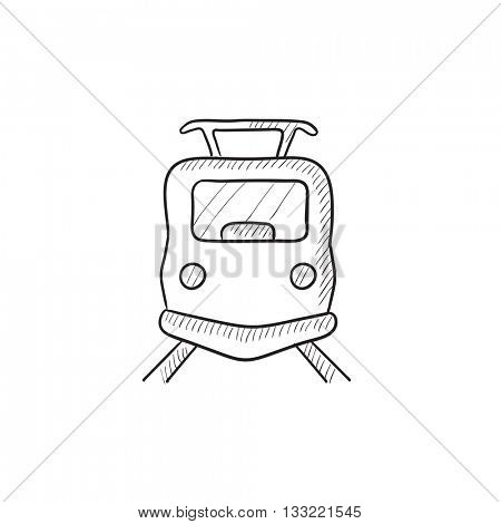 Front view of train vector sketch icon isolated on background. Hand drawn Front view of train icon. Front view of train sketch icon for infographic, website or app.
