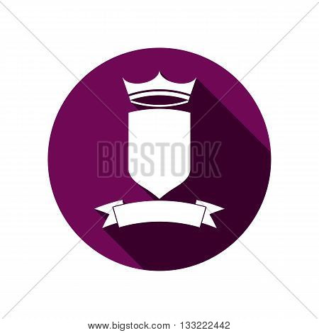 Royal insignia security shield with king crown isolated on white. Heraldry imperial coat of arms.