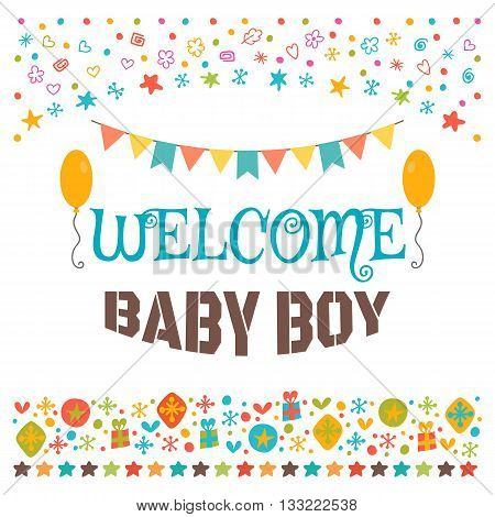 Welcome Baby Boy. Announcement Card. Baby Shower Greeting Card. Baby Boy Shower Card. Baby Boy Arriv