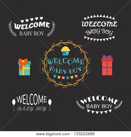 Welcome Baby Boy. Baby Boy Arrival Postcards. Baby Shower Design. Set Of Labels, Stickers, Emblems O