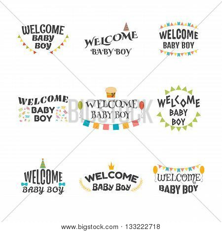 Welcome Baby Boy. Baby Boy Arrival Postcards. Set Of Emblems, Labels, Stickers Or Badges. Baby Showe