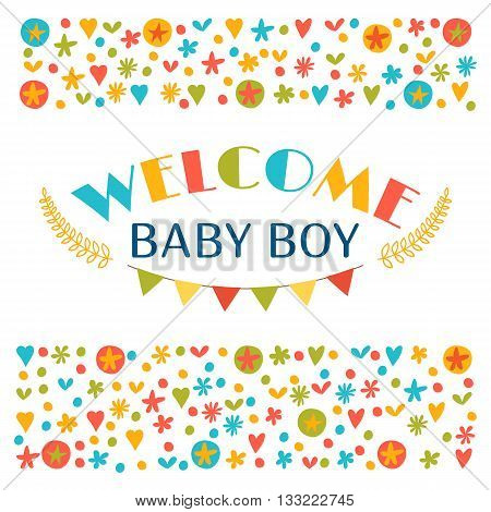Welcome Baby Boy. Baby Boy Shower Card. Announcement Card. Baby Shower Greeting Card. Baby Boy Arriv