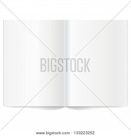 Vector blank magazine spread. Book Spread With Blank White Pages. Isolated white paper. A4 brochure Open. Template magazine spread.