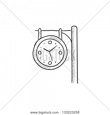Train station clock vector sketch icon isolated on background. Hand drawn Train station clock icon. Train station clock sketch icon for infographic, website or app.