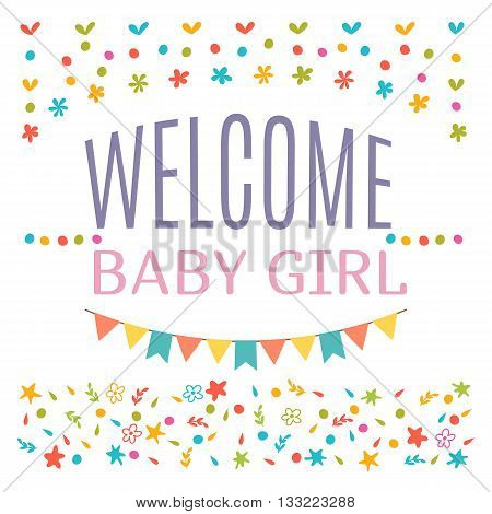Welcome Baby Girl Shower Card. Arrival Card. Announcement Card. Cute Postcard
