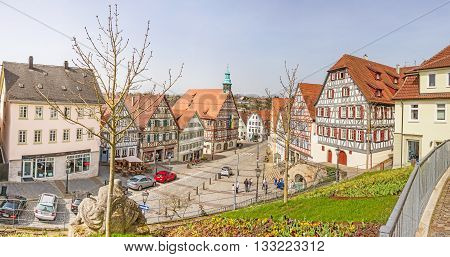 Backnang Germany - April 3 2016: City center panorama with townhall and half-timbered houses